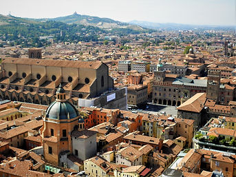 View from Torre Asinelli, terracotta, bologna, italy