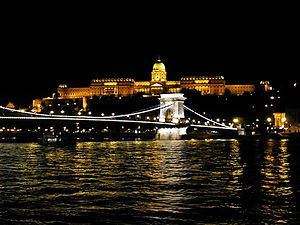 castle hill, night, budapest, hungary