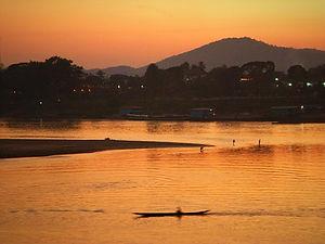 sunset, mekong river, laos