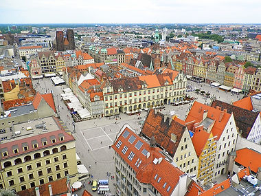 View from St Elizabeth's church, wroclaw, poland