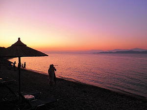 Sunset, beach, Gulf of Corinth, greece, corinth