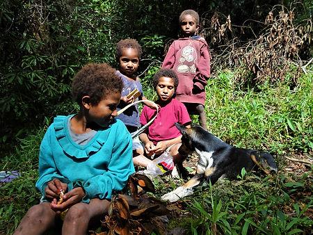 kokoda, trail, trak, papua new guinea, forest, jungle, mountain, hike, trek, children, dog