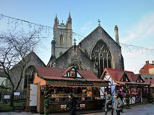 market, church, cardiff, wales