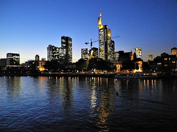 Main river, frankfurt, germany, sunset, night