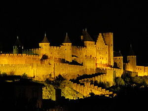 carcassone, france, la cite, night