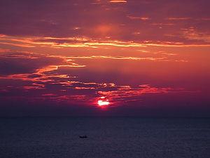 sunset, france, sea