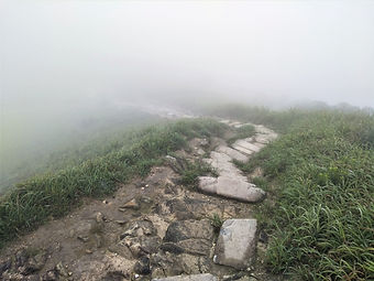 lantau island, lantau trail, view, mountain, clouds, stairs, hiking, hong kong