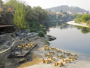 Moraca river, podgorica, montenegro