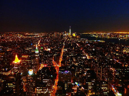 empire state building, night, view, new york city