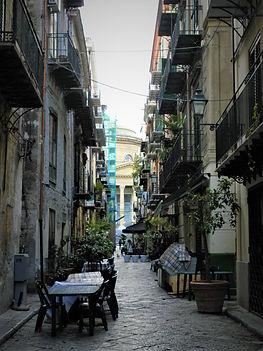 Palermo, sicily, italy, alley, lane, restaurant