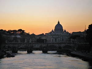 St Peter's Basilica and Tiber river, rome, italy, sunset