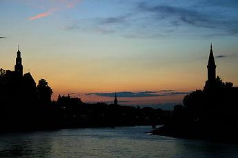 salzburg, austria, sunset, river