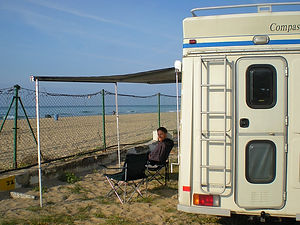 barcelona, spain, beach, campervan