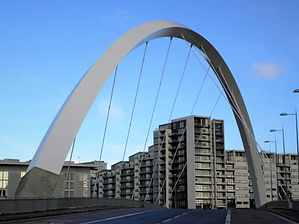 River Clyde, bridge, clyde arc, glasgow, scotland