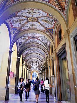 The covered arcades, portico, bologna, italy