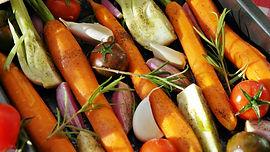 roast vegetable, carrot, onion, rosemary, healthy, vegan food