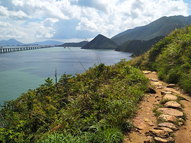 hong kong, trail, mountain, hiking, view, lantau, tung o ancient walk, water, sea