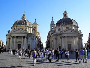 Piazza del Popolo, churches, rome, italy