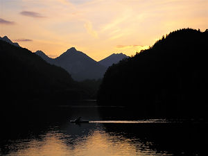 Alpsee, sunset, fussen, germany