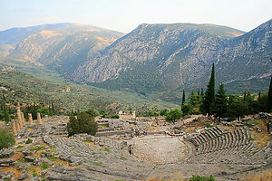 theatre, delfi, greece, ruins