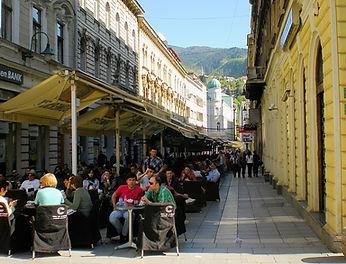 sarajevo, ol town, bosnia, street, cafe