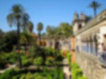 reales alcazares, seville, garden, spain