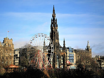 Scott monument, ferris wheel, Edinburgh, Scotland