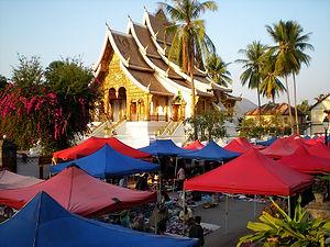 night market, wat, luang prabang, laos