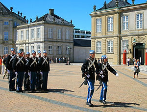 denmark, copenhagen, changing of guard, palace