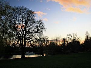 stratford, england, park, sunset, avon river
