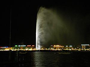 geneva, switzerland, jet d'eau, night