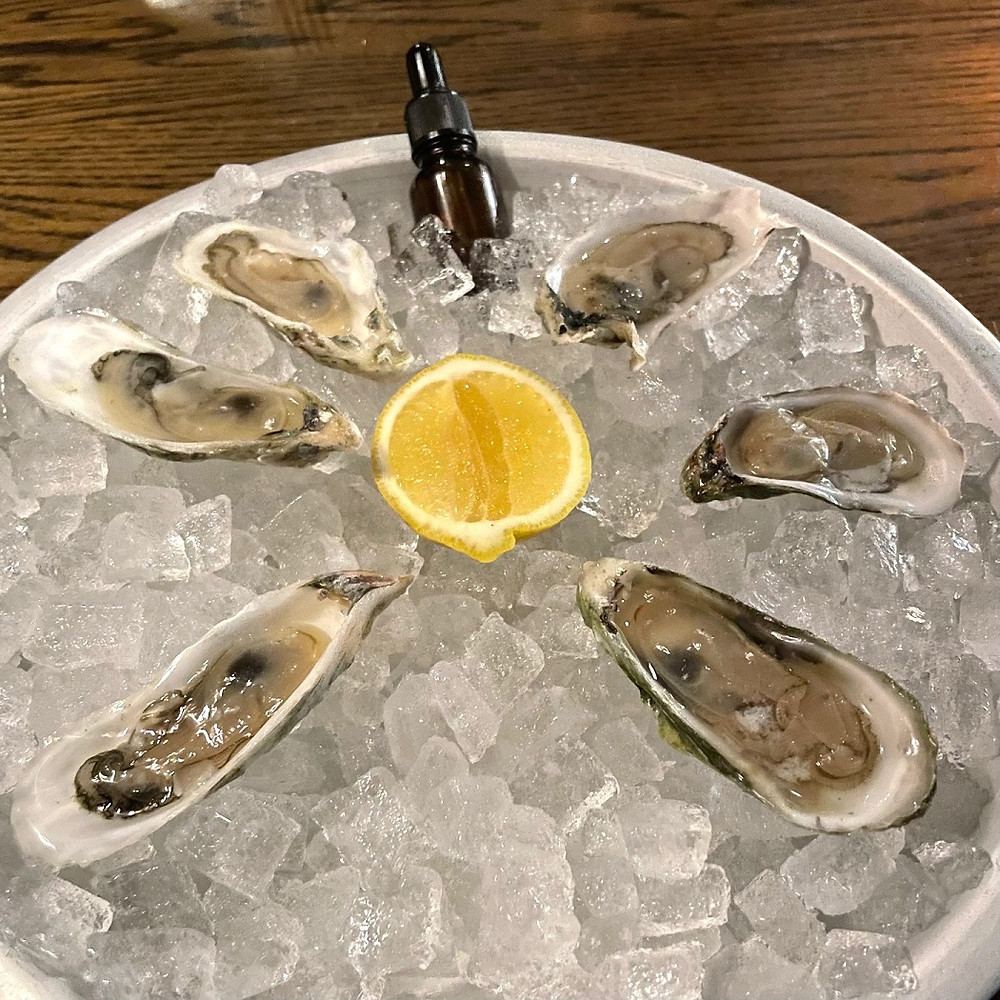 oysters form Georgia and South Carolina local to the Grey Restaurant in Savannah, Georgia