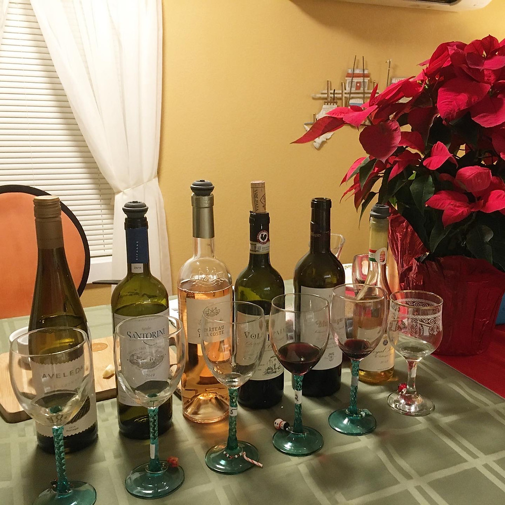 the wines used in Sips, Stories, & Santiy, the 2020 Holiday European wine Tasting