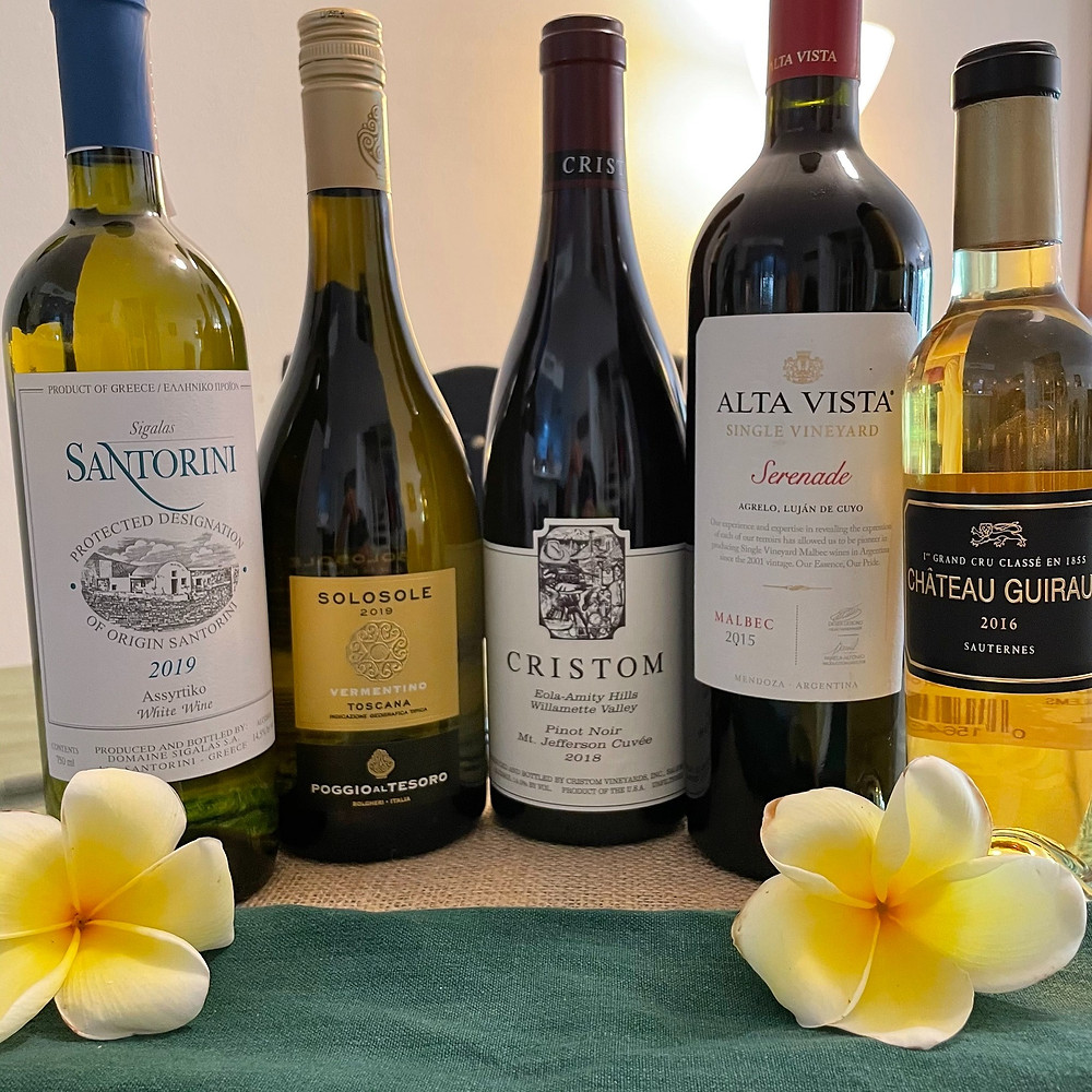 the 5 selected wines for the vino y vegan wine dinner stay luxurious event