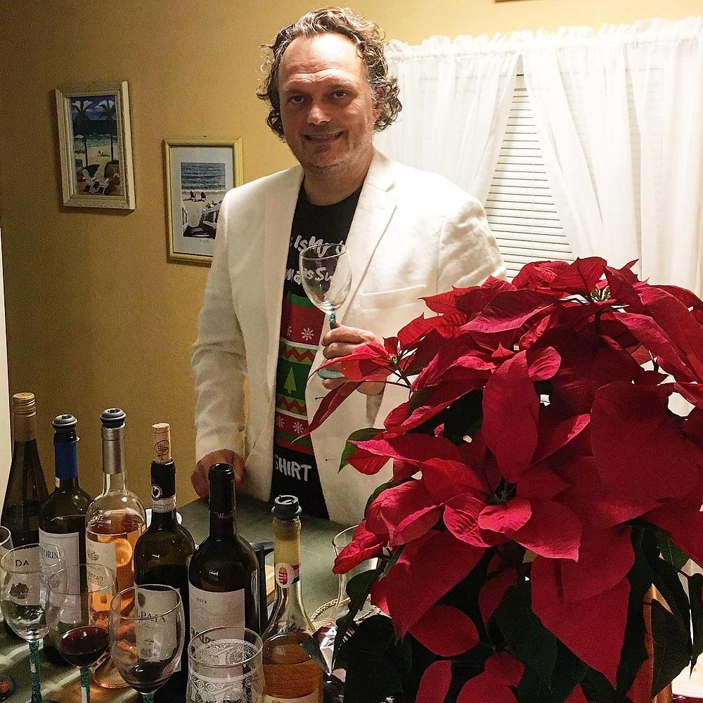 host Craig Zabransky prepares for his 2020 Holiday Virtual Wine Tasting Event
