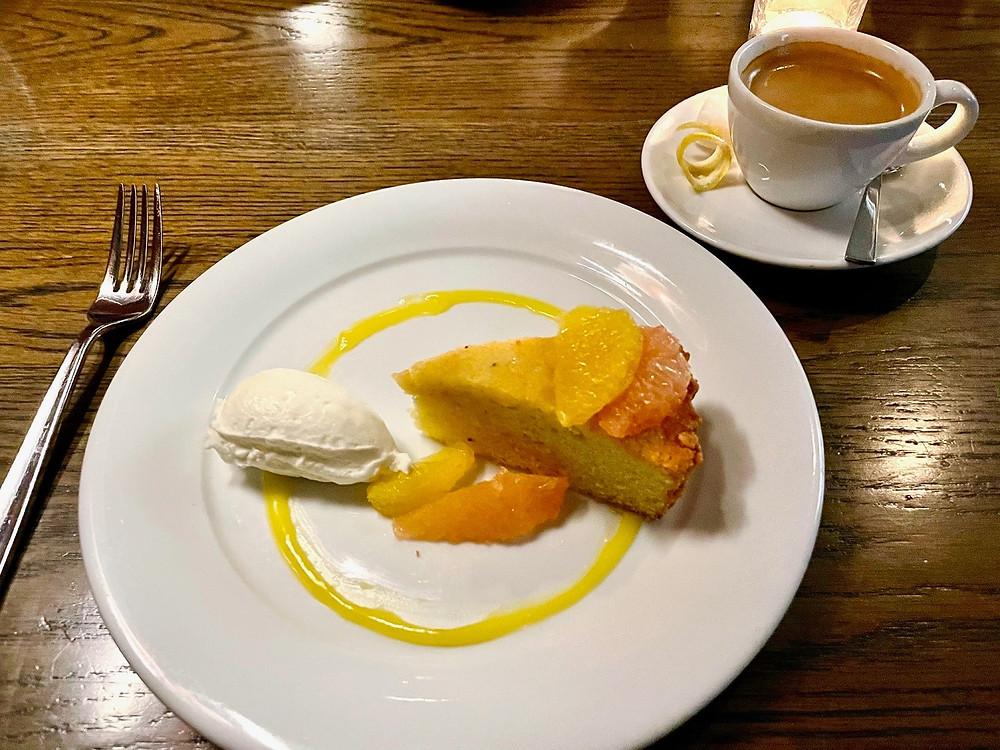 a grits cheesecake for dessert at The Grey Restaurant in Savannah, Georgia