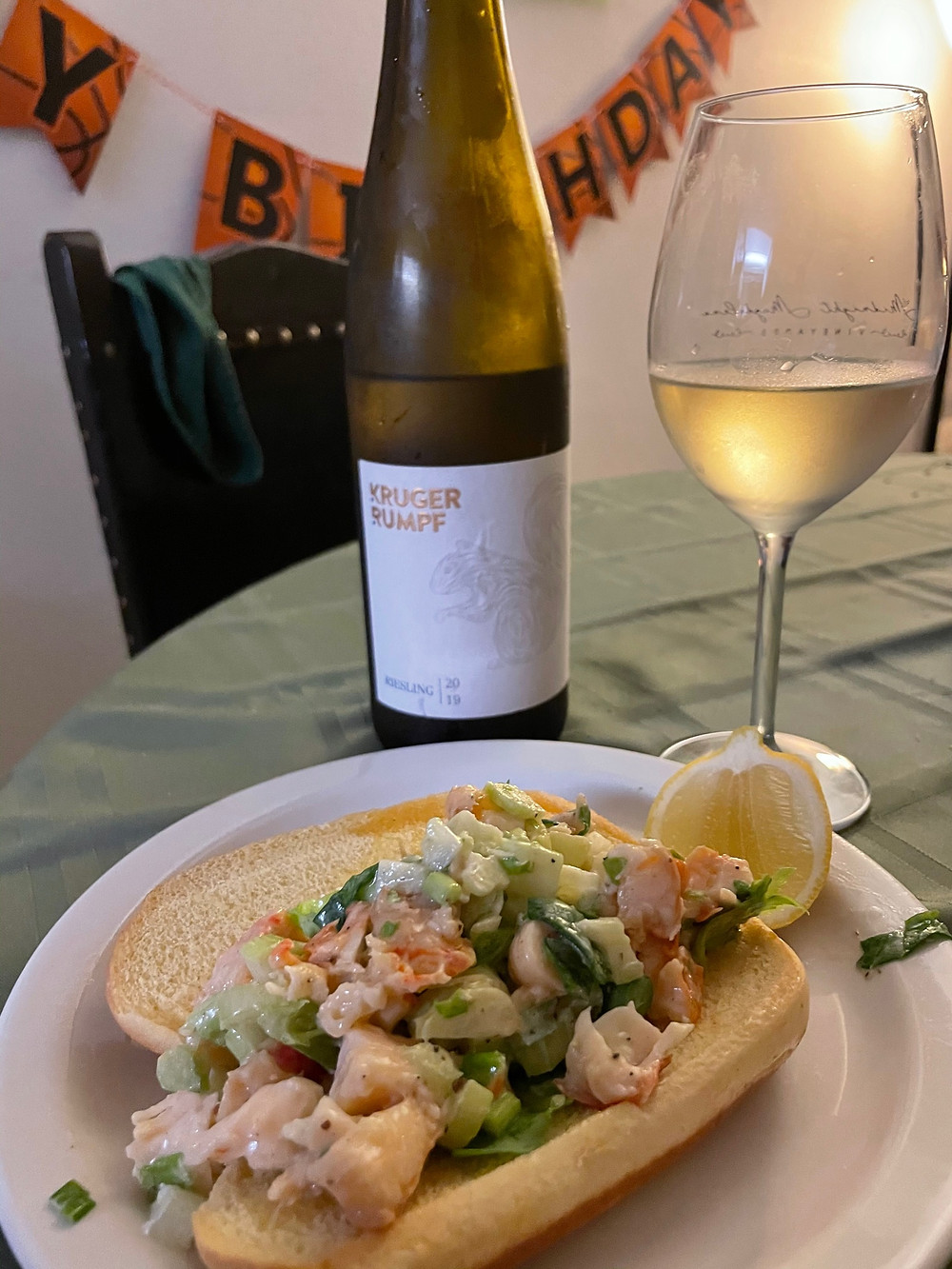German Riesling Wine tasted with a Lobster Roll, also a good happy brithday wine image