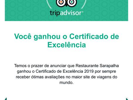 Sarapalha ganha o terceiro Certificado de Excelência do TripAdvisor