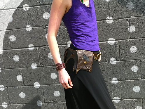 Chocolate Leather and Python Utility Belt Bag