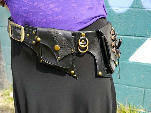 Leather and Laces Black and Antique Brass