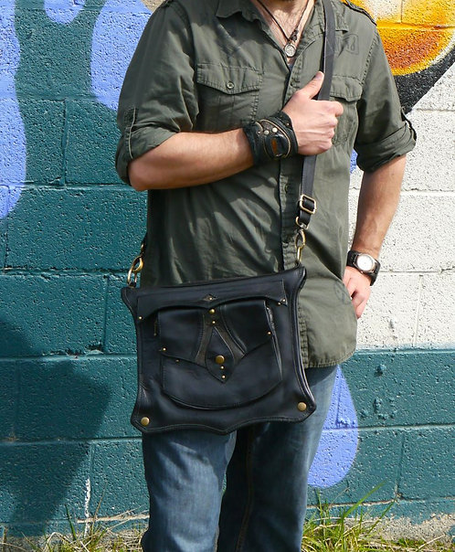 Black Messenger Tablet Bag