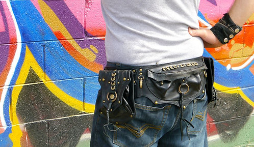 Convertible Black and Antique Brass Utility Belt B