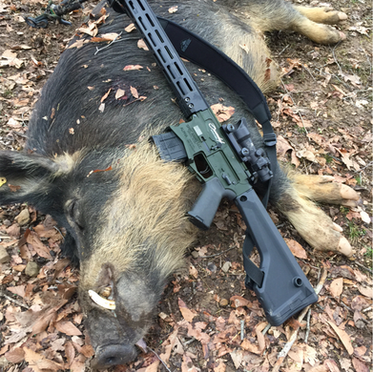 """Hog Down! This specialty .450 Bushmaster Spec Arms LLC ALPHA Hunter edition with an ELFTMANN Tactical Match trigger and Trijicon ACOG was designed for Boondox Motorsports, with a custom """"Hogzilla"""" laser engraving by @armoryvalentine. Gun, scope, and engraving all from Michigan companies for our fellow Michigan company to use in the hills of Tennessee. Congrats on the successful hunt!"""