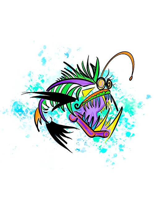 Angler Fish Doodle Print
