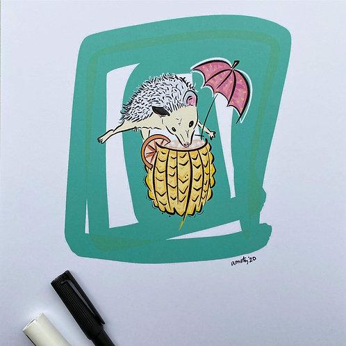 Tiki Hedgehog Print