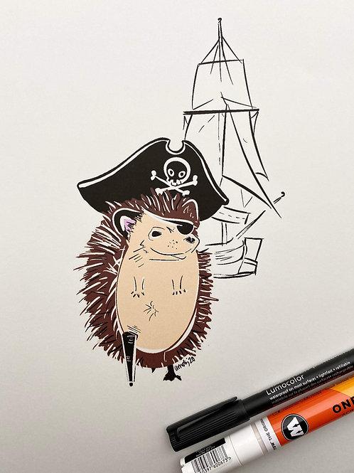 Pirate Hedgehog Doodle Print