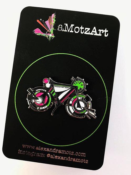 Retro Bike Babe Enamel Pin