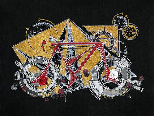 Red & Gold Bike Babe Print