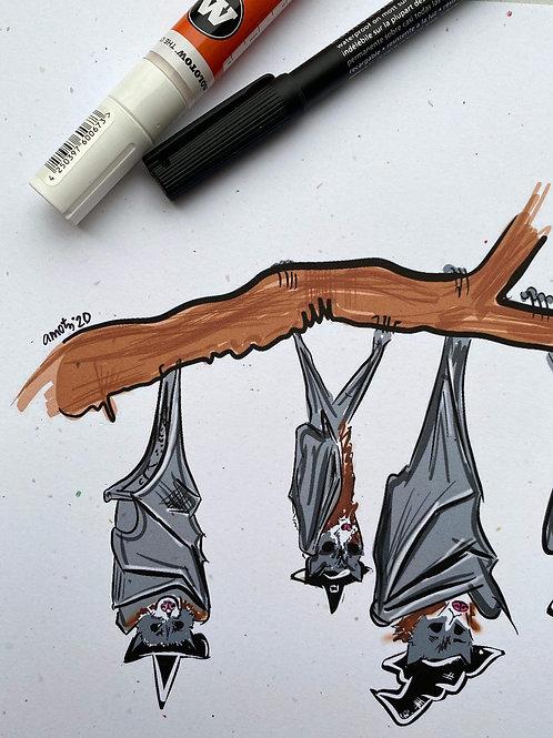 Bat Coven Doodle Print