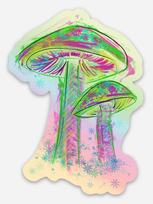 Holographic Mushroom Sticker
